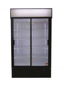 Double Sliding Door Beverage Cooler Slimline 748L